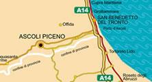 Rappresentazione grafica dei collegamenti viari di Ascoli Piceno