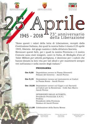 25 Aprile: 73° anniversario della Liberazione