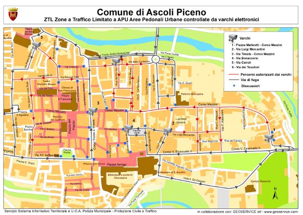 La mappa della dislocazine dei varchi nel centro storico di Ascoli Piceno
